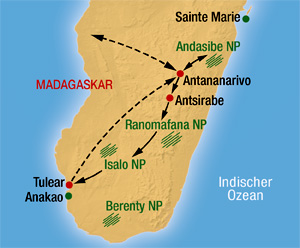 Madagaskar Karte Nationalparks.Madagaskar Rundreise